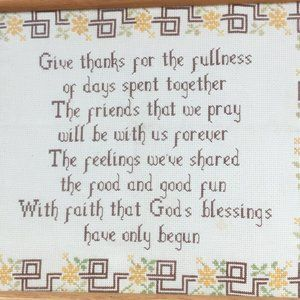Cross Stitch Prayer Blessing Framed Boho Stitchery